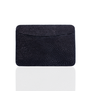 Credit Card Pouch in Black Stingray Leather