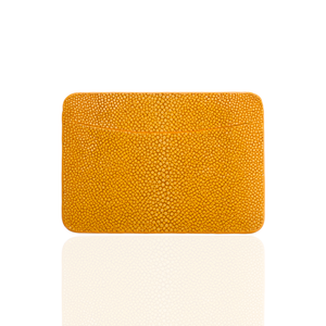 Credit Card Pouch in Yellow Stingray Leather