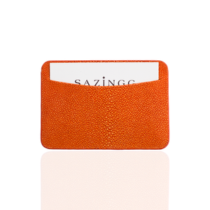 Credit Card Pouch in Orange Stingray Leather