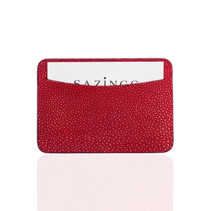 Credit Card Pouch in Red Stingray Leather