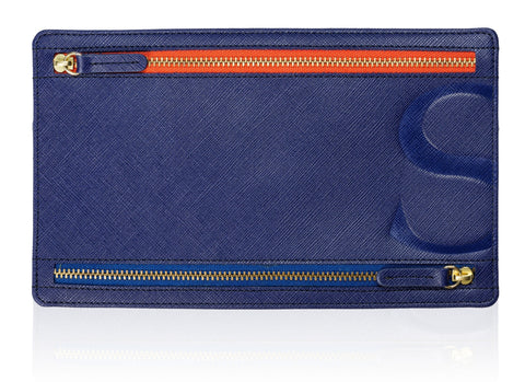Currency Pouch in Blue Textured Leather