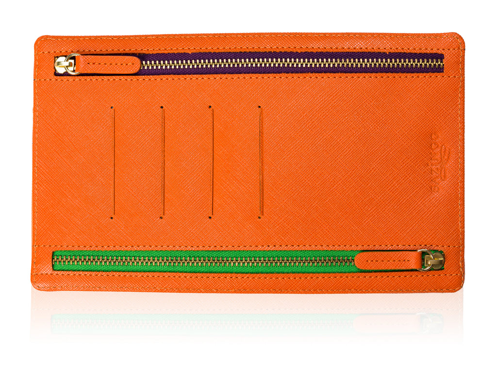 Currency Pouch in Orange Textured Leather