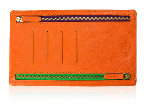 Orange Leather Currency Pouch