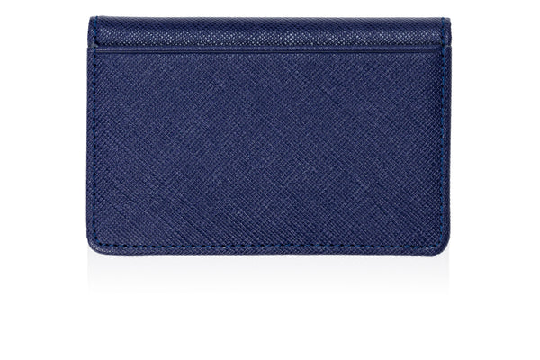 Card & ID Holder in Blue Textured Leather