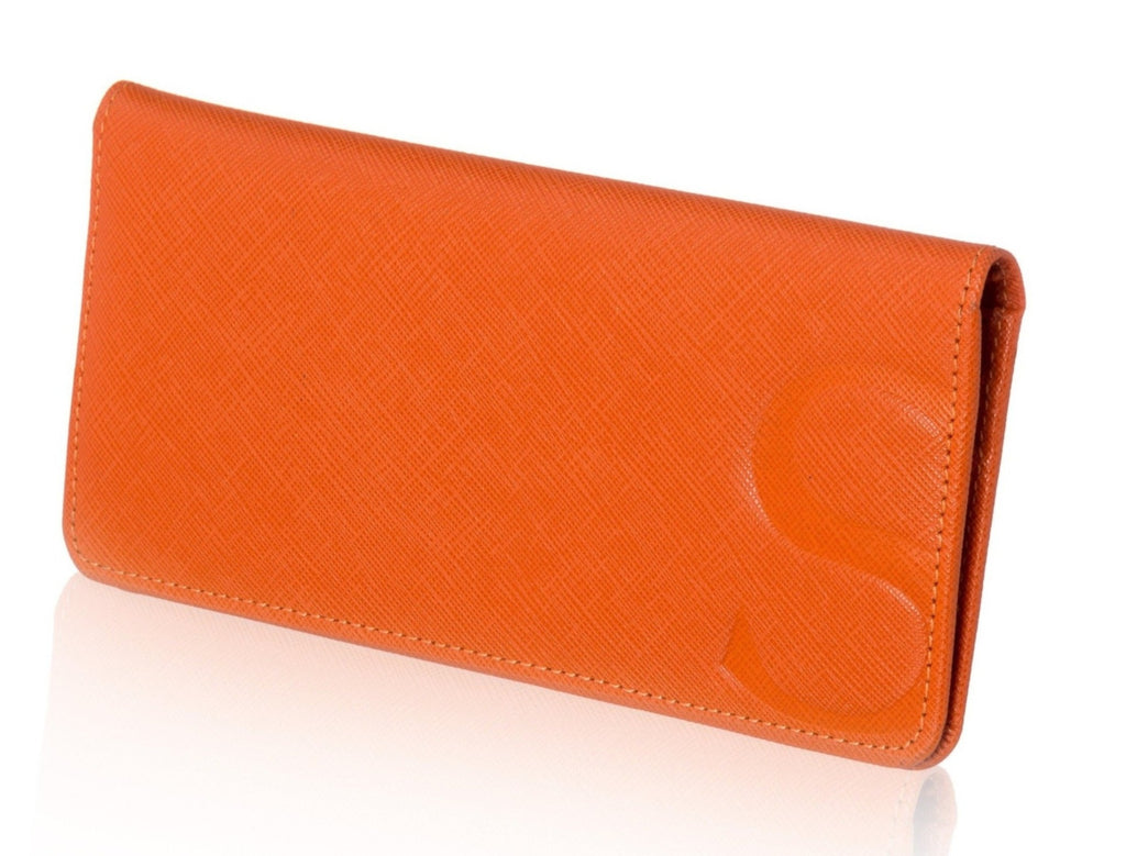 Orange Textured Leather Slim Wallet