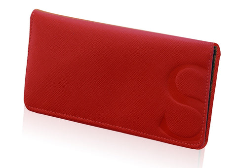 Slim Wallet in Red Textured Leather