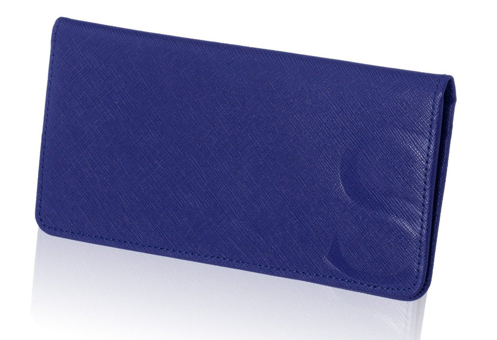 Blue Textured Leather Slim Wallet