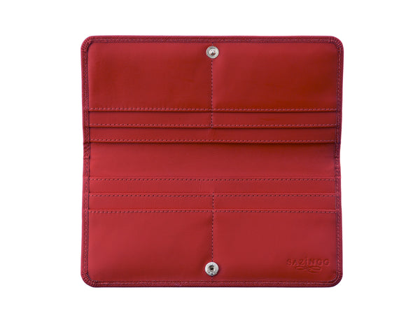 Red Textured Leather Slim Wallet