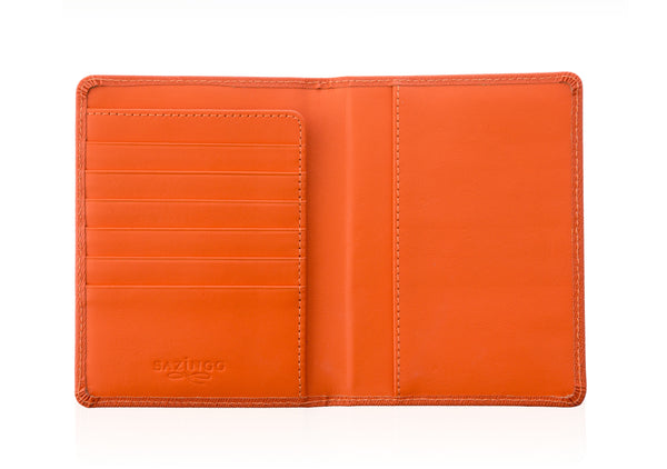 Orange Textured Leather Passport Cover