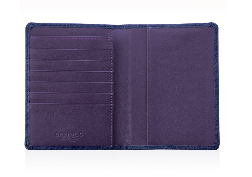 Passport Cover in Blue Textured Leather
