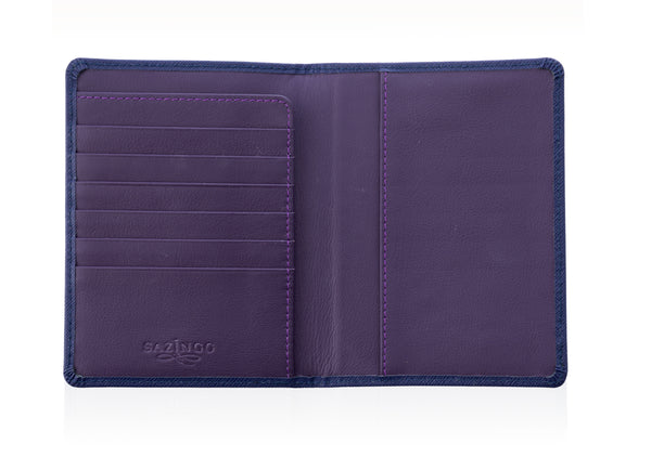 Blue Textured Leather Passport Cover