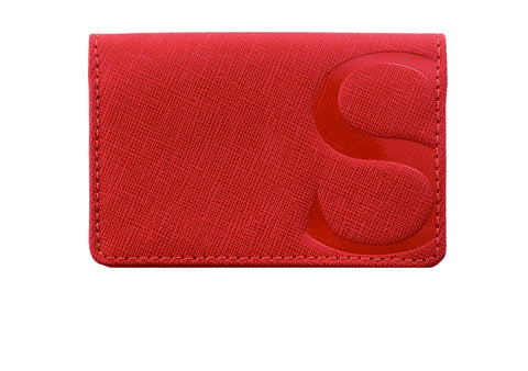 Credit Card Case in Red Textured Leather