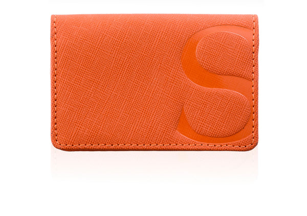 Red Textured Leather Credit Card Case