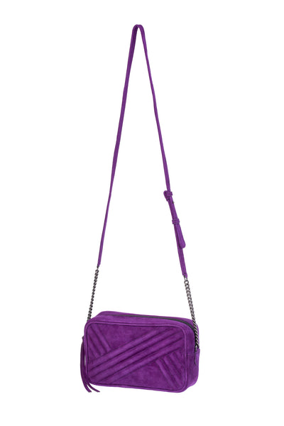 Handbag with Long Stap in Purple Suede Leather