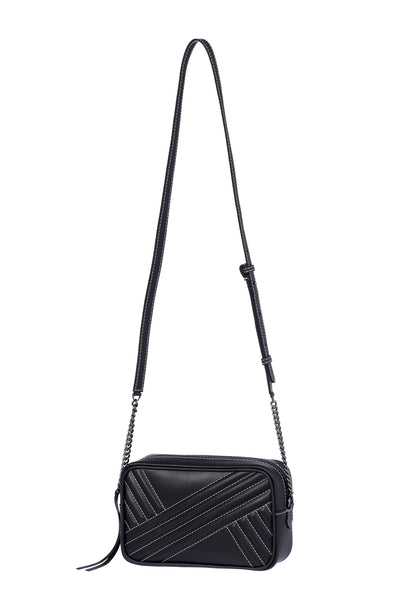 Handbag with Long Strap in Black Leather with White Seams