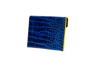 ID & Card Envelope in Blue with Yellow Croc Texture