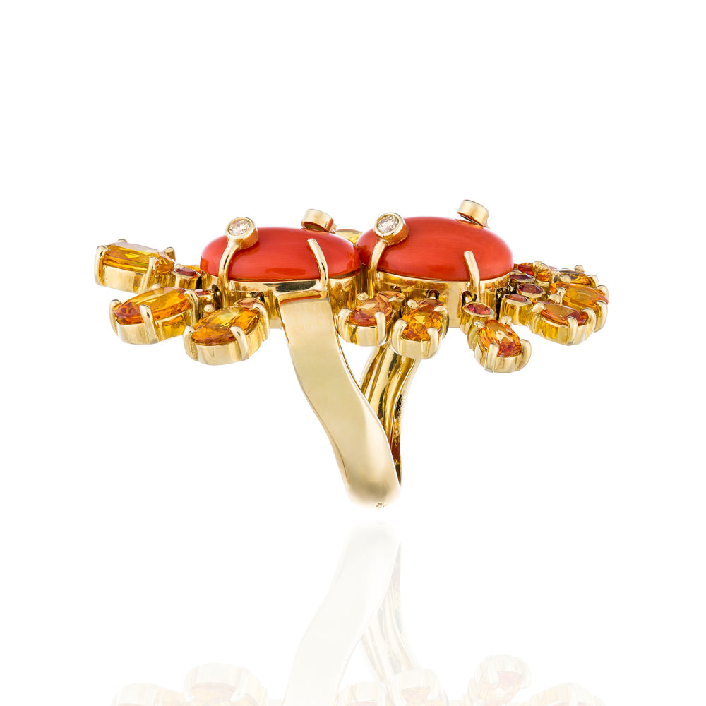 18K Yellow Gold Ring with Red Coral Cabochons, Orange Sapphire & Diamonds
