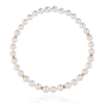 18K Rose Gold Necklace with South Sea Pearls and White Diamond Closure