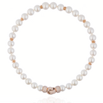 18K Rose Gold Necklace with South Sea Pearls & White Diamond Closure