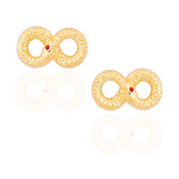 925 Silver Ouroboros Cufflink Plated in Yellow Gold