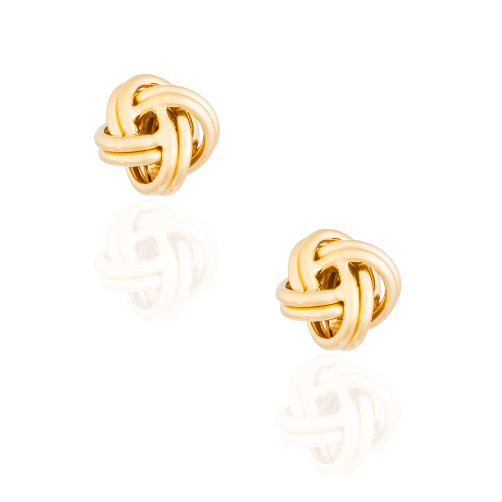 925 Silver Knot Cufflinks Plated in Yellow Gold