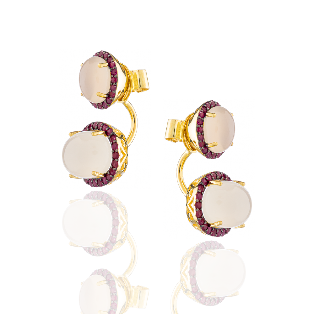 925 Silver Earrings with Moonstone Cabochons & Garnet