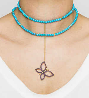 925 Silver Butterfly Choker with Turquoise & Ruby