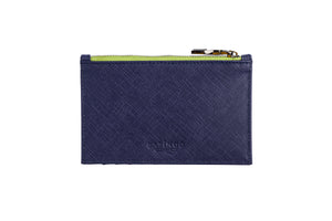 Load image into Gallery viewer, Credit Card Zip Pouch in Blue Textured Leather
