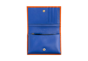 Small Wallet in Orange & Blue Textured Leather