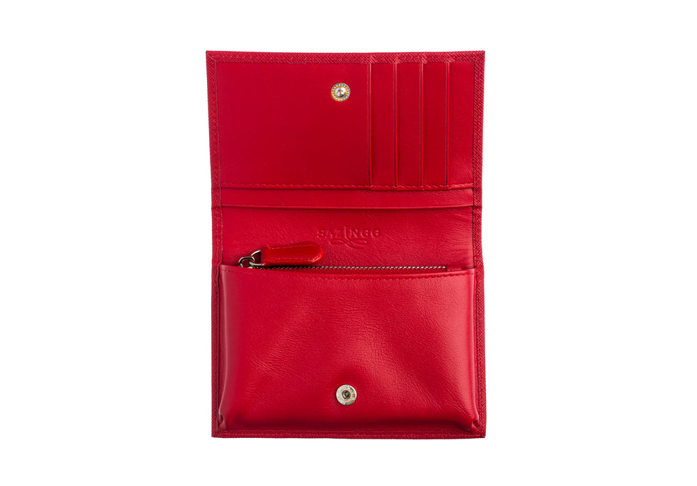 Small Wallet in Red Textured Leather