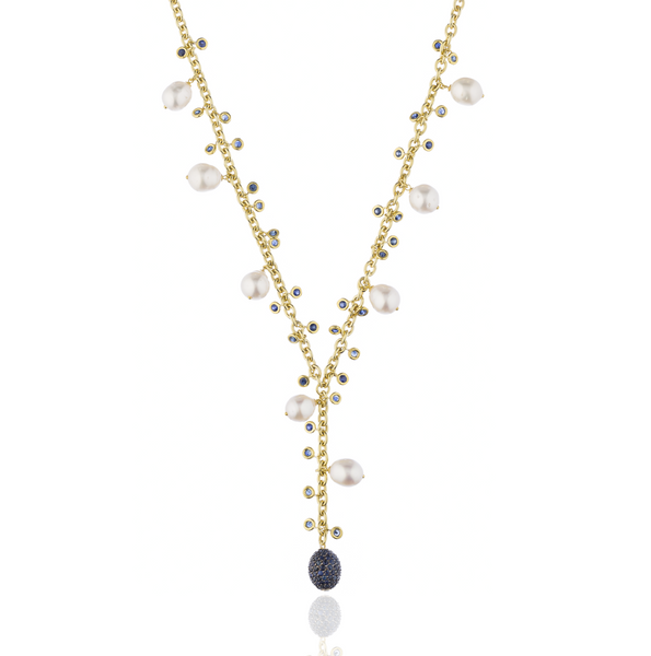 925 Silver Necklace with South Sea Pearls & Blue Sapphires