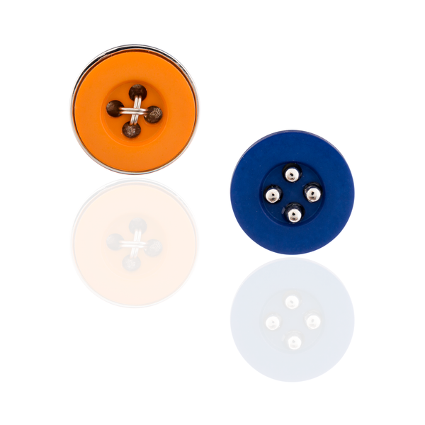 925 Silver Button Cufflinks in Blue & Orange