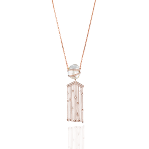 18K Rose Gold Necklace with South Sea Pearls & Diamonds