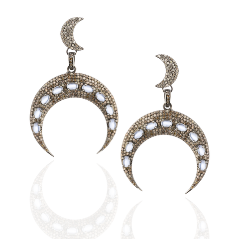 Silver Moon Earrings with Diamond Pavé & Moonstone Cabochon