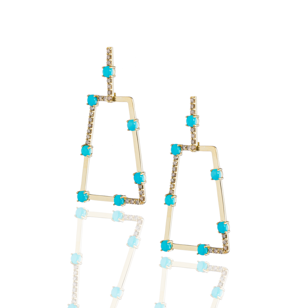 18K Yellow Gold Earring with Cognac Diamonds & Turquoise Cabochons