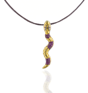 Load image into Gallery viewer, 925 Silver Snake Pendant with Rubies