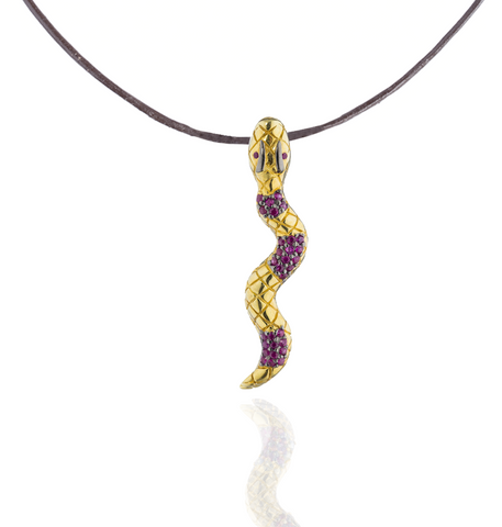 925 Silver Snake Pendant with Rubies