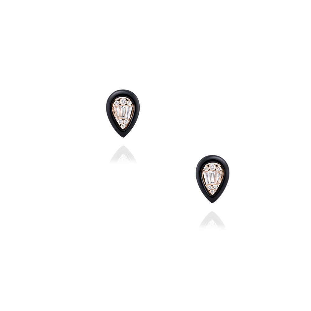 18K Rose Gold Earrings with Onyx & Diamonds