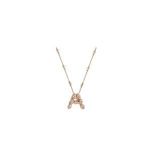 14K Rose Gold Initial Necklace with Diamonds