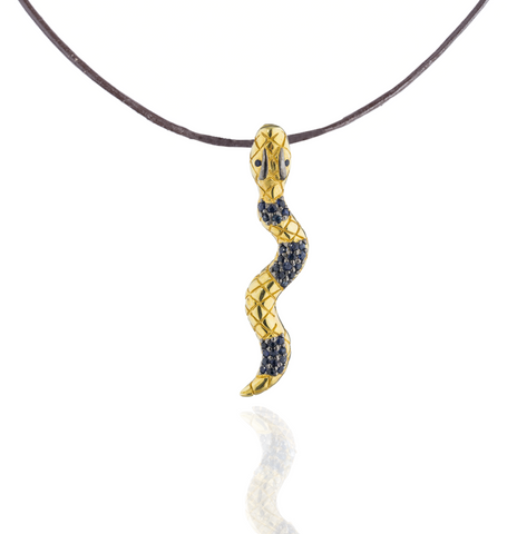 925 Silver Snake Pendant with Blue Sapphires