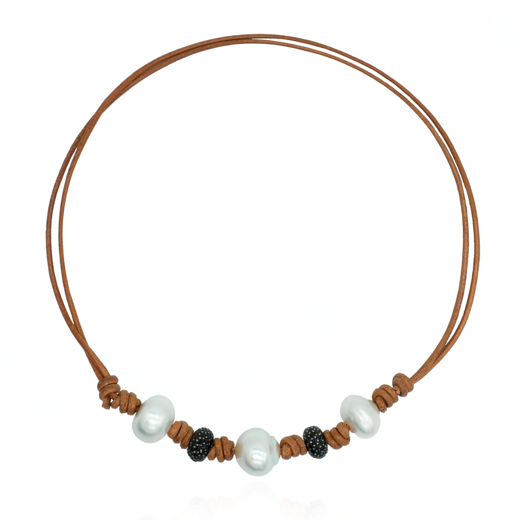Leather Necklace with South Sea Pearls & Spinel Beads