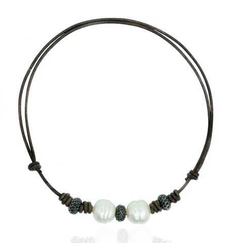 Leather Necklace with South Sea Pearls