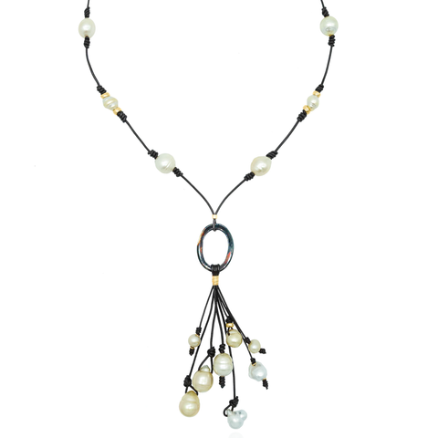 Leather Necklace with Quartz Hoop & South Sea Pearls