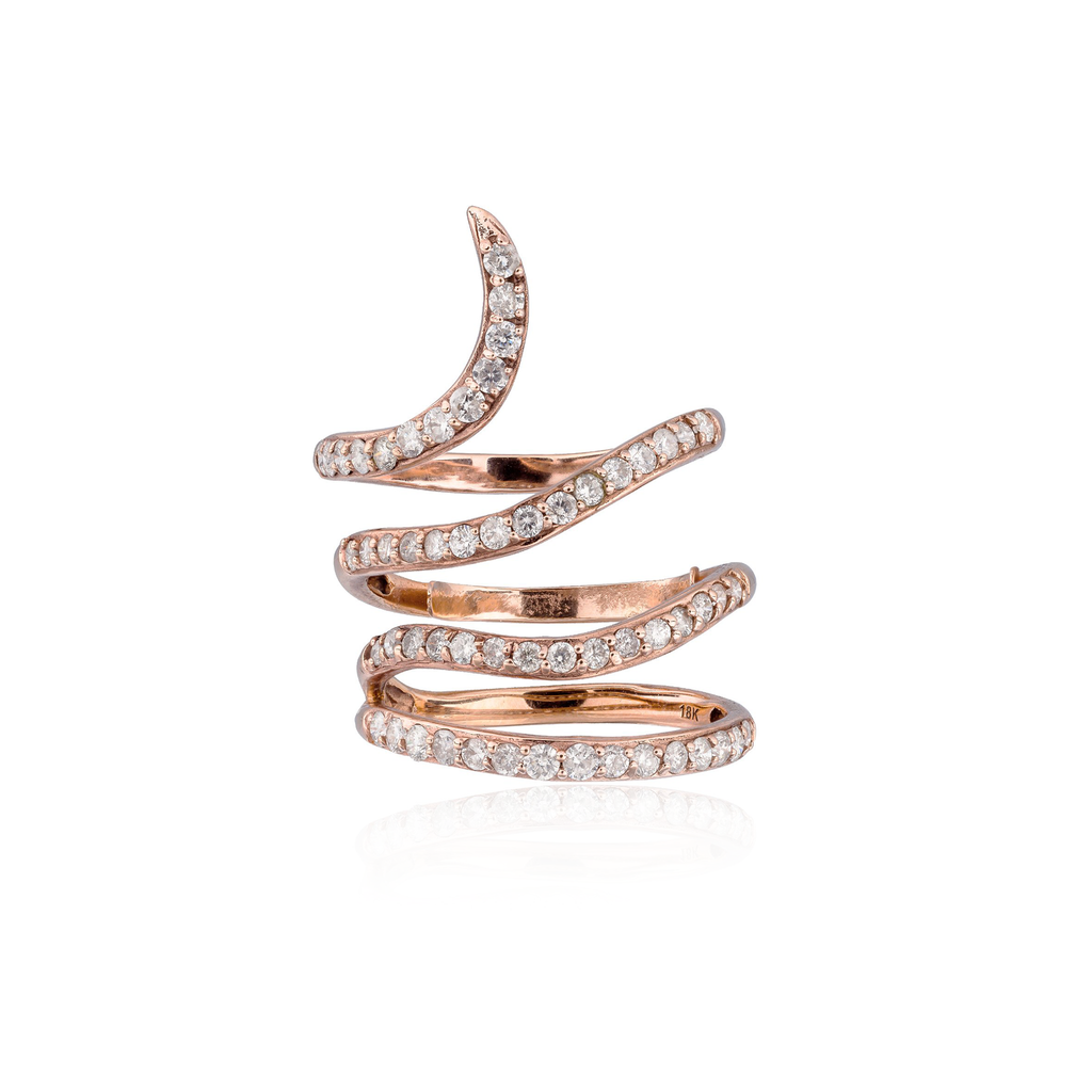18k Rose Gold Ring with White Diamonds