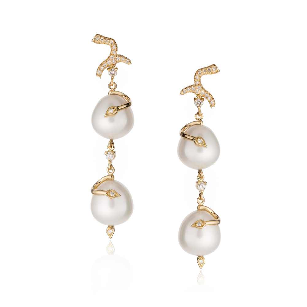 18k Yellow Gold Earrings with  South Sea Pearls and Diamonds