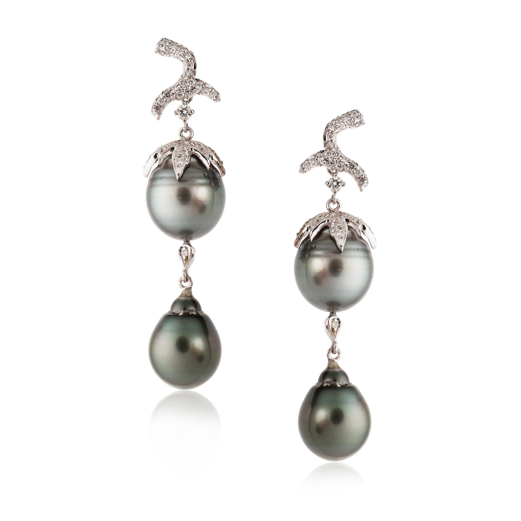 18k White Gold Earrings with South Sea Pearls and Diamonds