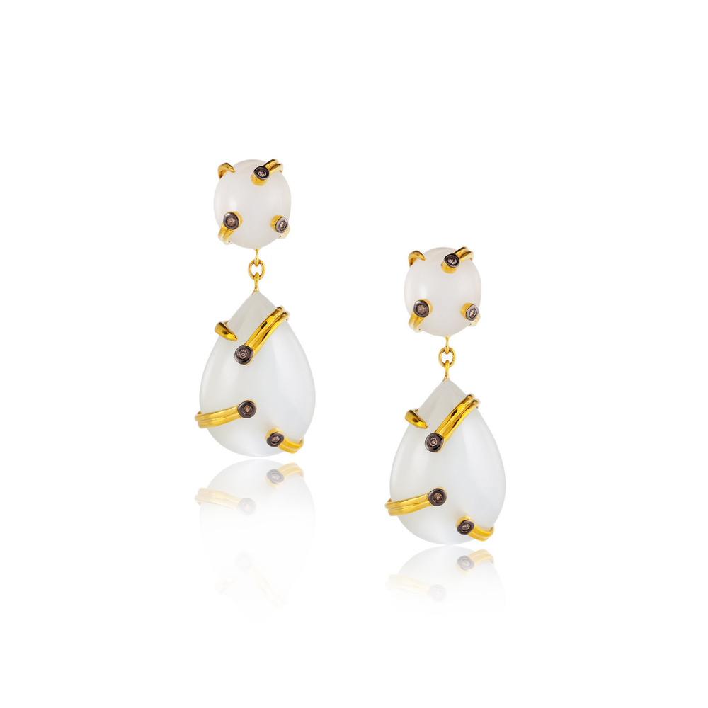18k Yellow Gold Earrings with Moonstone Cabochons and Diamonds