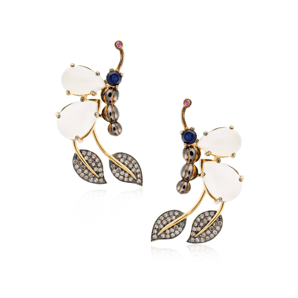 Load image into Gallery viewer, 925 Silver Butterfly Earrings with Moonstone, Ruby, Blue & Green Sapphires