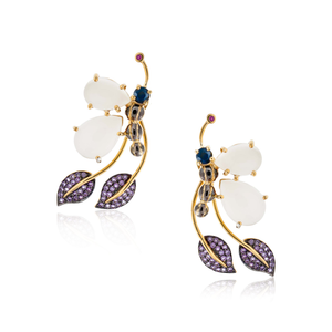 925 Silver Butterfly Earrings with Moonstone, Ruby, Blue Sapphire & Amethyst