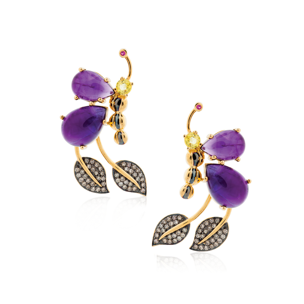 925 Silver Butterfly Earrings with Amethyst, Ruby, Yellow & Green Sapphires